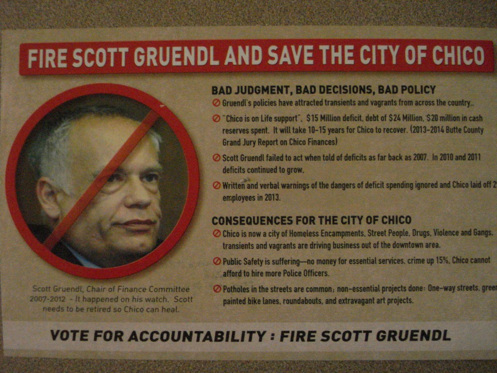 Flier blamed former mayor for homelessness, vagrancy and violence in Chico.