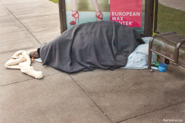 A homeless Chico resident photographed on Vallombrosa Avenue