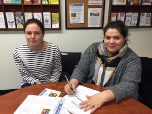 OneJustice legal fellow Maureen Slack and Orland Unified Student Support Services Secretary Neli Peña discuss the upcoming immigration fair.