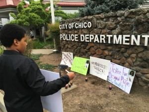 photo by Dave WaddellVigil at Chico Police Department