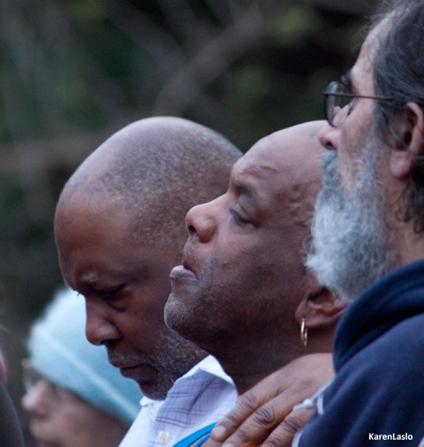 photo by Karen LasloDave Phillips (center) mourns the loss of his son.