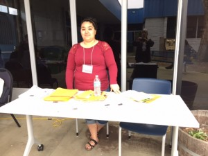 Orland High's Maria Parra worked at the welcome table.
